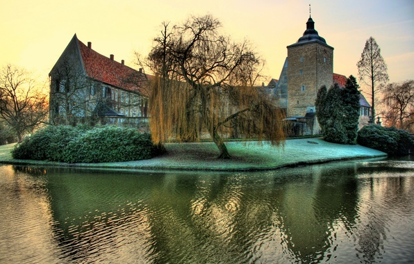 Picture greens, river, castle, Germany, fortress, the bushes, Steinfurt
