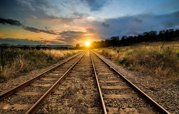 Picture landscape, perspective, railroad