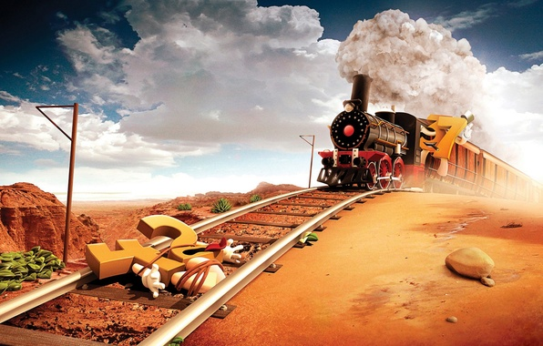 Picture road, desert, The engine, figures, iron