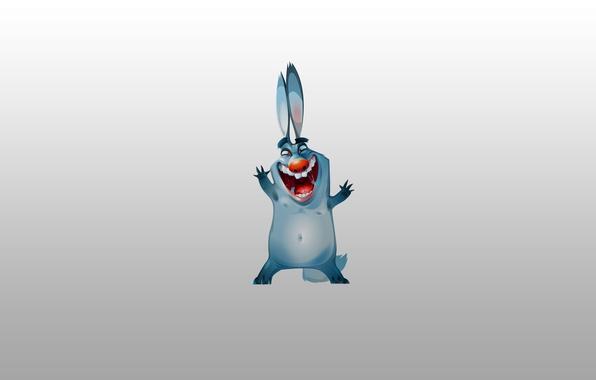 Picture blue, hare, minimalism, rabbit, rabbit, soup, joyful, red nose