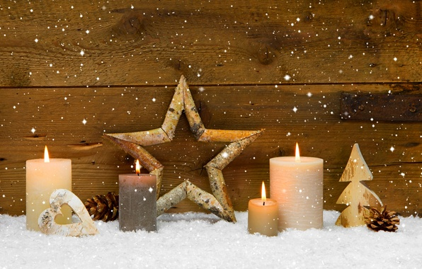 Wallpaper Winter Stars Holiday Heart Candles Star