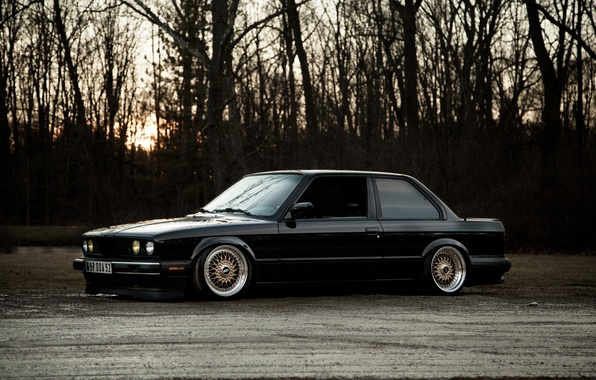 Picture black, BMW, BMW, black, low, e30, stance, 325si