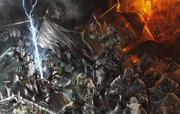 Picture horses, army, armor, swords, warriors, riders, skeletons, undead, dead