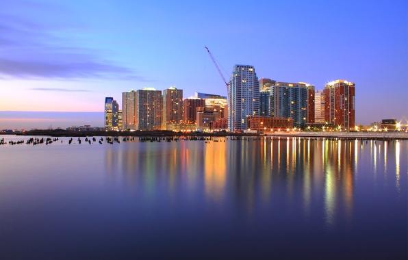 Picture the sky, clouds, light, sunset, lights, reflection, river, lilac, pink, skyscrapers, the evening, port, USA, …