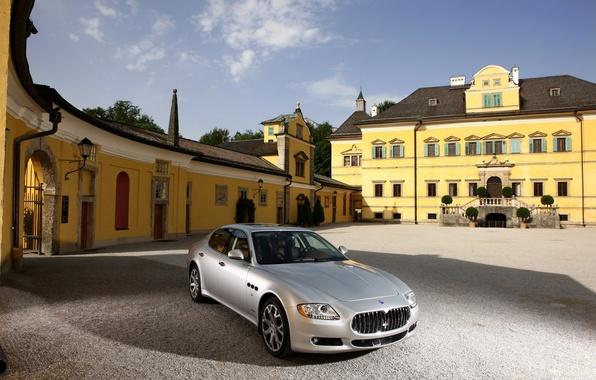 Picture Maserati, Quattroporte, House, Silver, Day