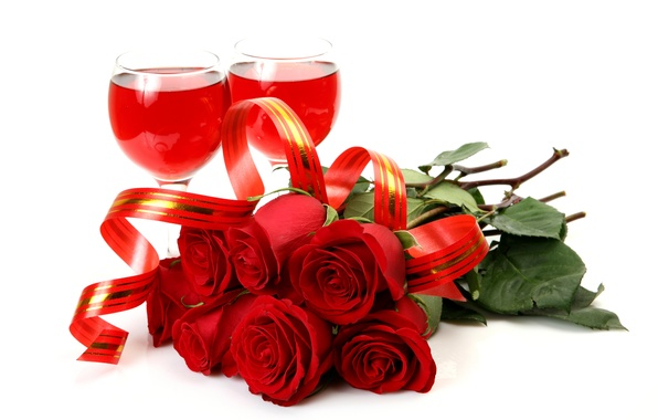 Picture wine, roses, glasses, tape, red, white background