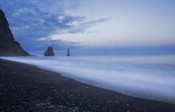 Picture the sky, clouds, rocks, blue, shore, coast, Sea, the evening, calm