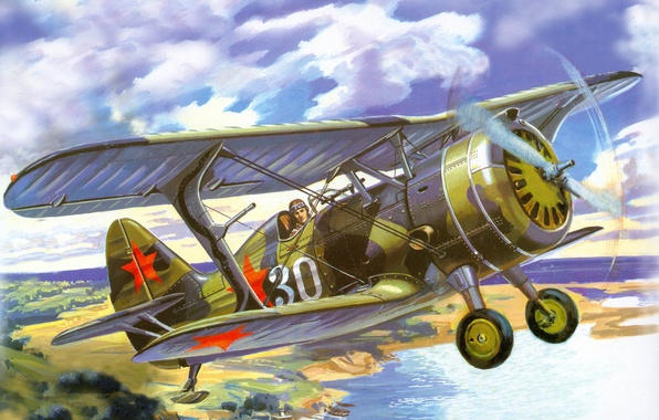 Picture the sky, clouds, river, earth, shore, figure, Marina, ships, fighter, art, the plane, Soviet, biplane