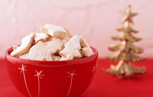 Picture macro, red, tree, New year, vase, holidays, sweet, treats, Cookies