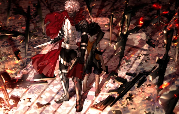Picture weapons, anime, boy, art, dagger, guy, fate/stay night