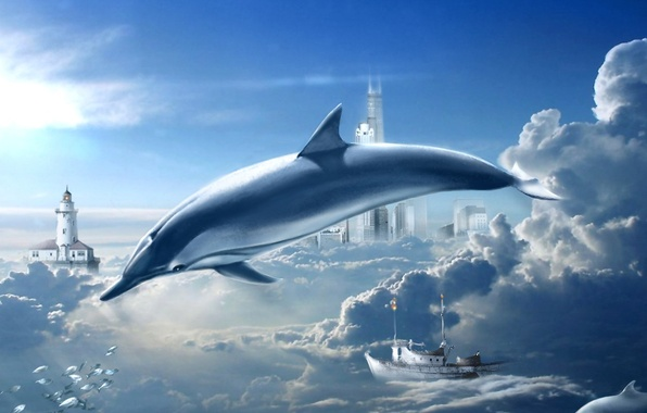 Picture the sky, clouds, dreams, Dolphin