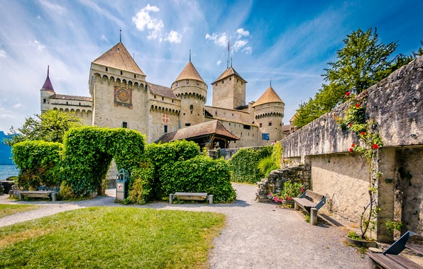 Picture greens, lake, stones, castle, lawn, wall, island, Switzerland, arch, benches, benches, Lake Geneva, Chillon Castle