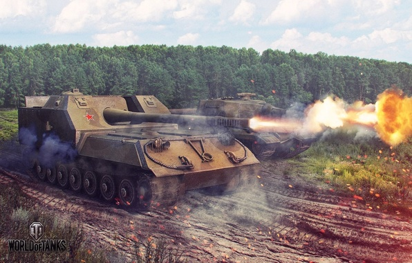 Picture forest, weapons, fire, flame, shot, Tanks, World of tanks, wot, world of tanks, wargaming, object …