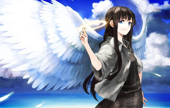 Picture sea, girl, clouds, wings, angel, art, halo, chirigami-san