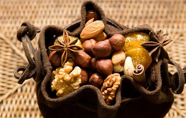 Picture macro, food, nuts, nuts, almonds, pouch