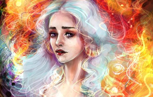 Picture Girl, Blonde, Hair, Art, Movies, Game of Thrones, Game of thrones, Emilia Clarke, Daenerys Targaryen, …