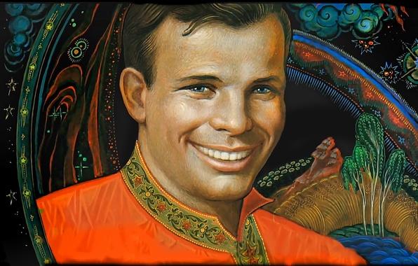 Picture smile, astronaut, hero, legend, pilot, Yuri Gagarin