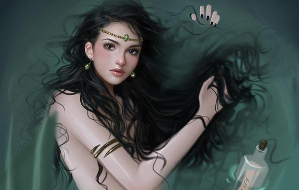 Picture look, water, girl, decoration, hair, bottle, mermaid, earrings, art, note
