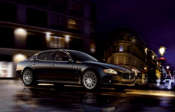Picture Maserati, Quattroporte, Black, Night, The city, Wheel, Riding