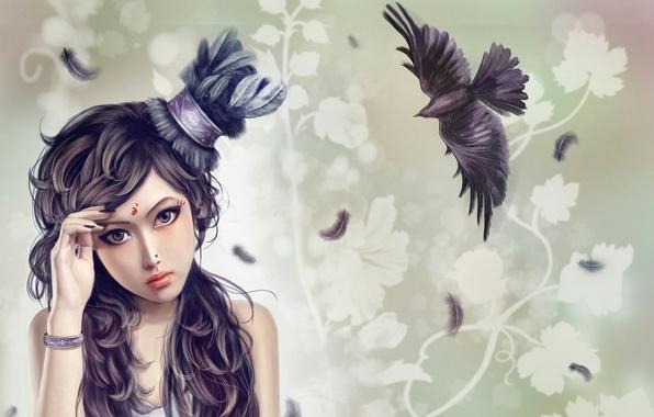Picture girl, bird, pattern, feathers, piercing, tattoo, art, bracelet, hat, Raven