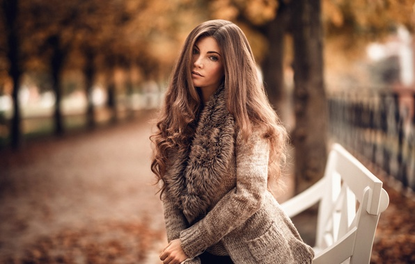 Picture autumn, look, leaves, girl, trees, Park, sweetheart, model, scarf, shop, freckles, brown hair, the beauty, …