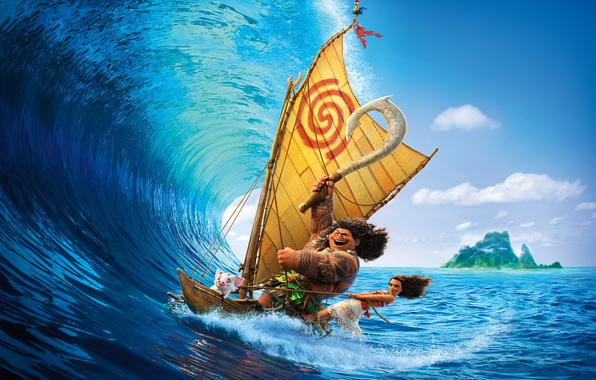 Picture sea, tropics, weapons, boat, wave, island, cartoon, necklace, tattoo, girl, sail, surfing, adventure, poster, Walt …