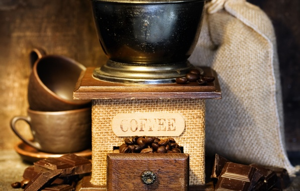 Picture coffee, chocolate, Cup, grain, Coffee, coffee, chocolate, pouch, cups, coffee beans, beans, sack