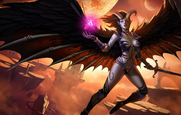 Picture rocks, magic, planet, wings, sword, fantasy, art, horns, demoness, flying, in the sky