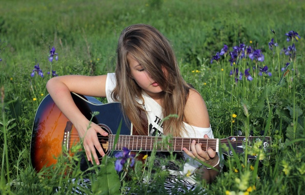Picture GIRL, NATURE, GRASS, GREENS, GUITAR, GLADE, GREEN, GRIF, STRINGS, DECA