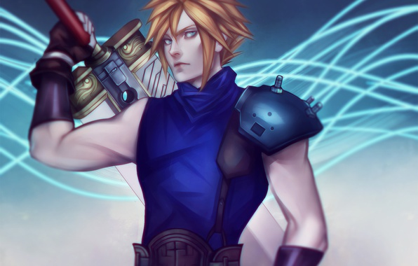 Picture sword, art, guy, Final Fantasy 7, ff7, cloud, square enix, rpg, blonde, Cloud Strife