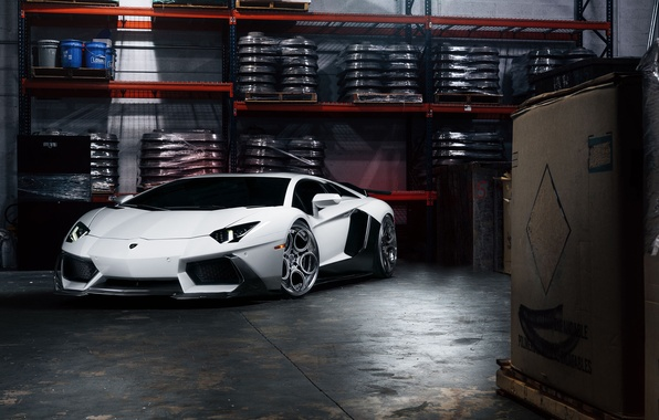 Picture Lamborghini, Front, White, Matte, Tuning, LP700-4, Aventador, Supercar, Wheels, Garage, ADV.1