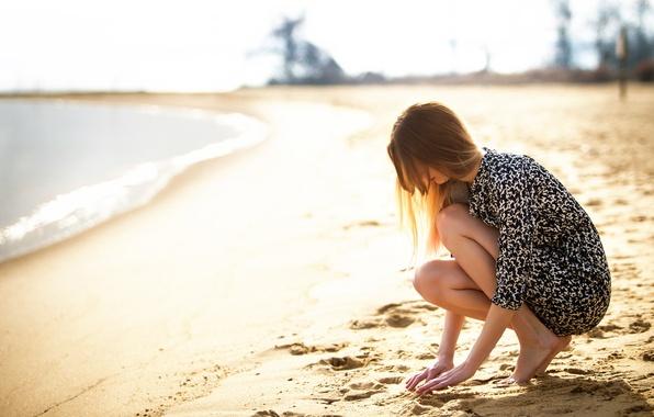 Picture sand, beach, girl, the sun, legs