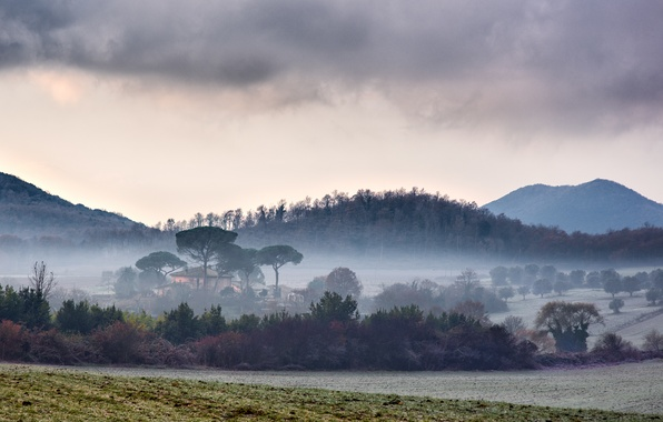 Picture field, mountains, fog, Italy, field, Italy, mountains, fog, Lazio, Manziana, Lazio