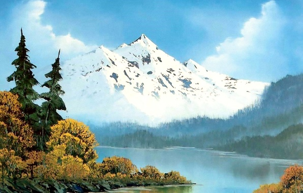 Picture forest, the sky, water, clouds, snow, trees, landscape, mountains, fog, river, picture, painting, Bob Ross, ...