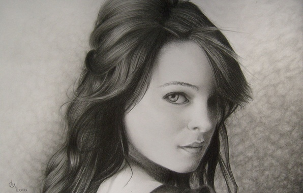 Picture look, girl, face, background, hair, portrait, pencil, painting