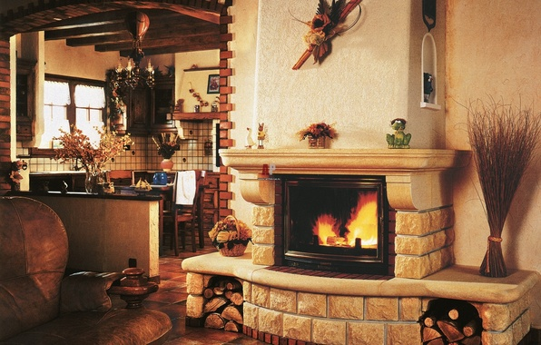 Picture table, sofa, fire, Windows, chairs, House, kitchen, chandelier, wood, fireplace