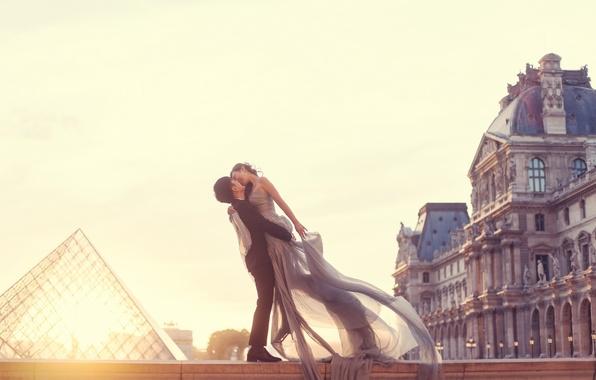 Picture love, woman, building, Paris, kiss, dress, pair, male, lovers, two