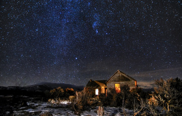 Picture space, stars, light, snow, hills, field, Windows, home, The milky way