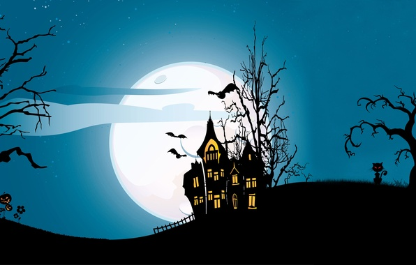 Picture cat, trees, castle, vector, vector, bat, horror, horror, trees, cat, bat, midnight, castle, midnight, creepy, …
