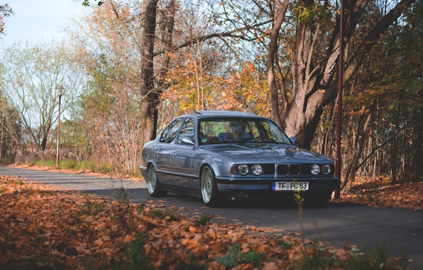 Picture autumn, tuning, bmw, BMW, drives, classic, tuning, stance, e34, oldscool
