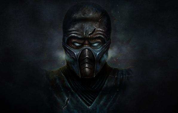 Picture cold, the dark background, mask, ninja, mortal kombat, Sub-Zero, Sub-Zero