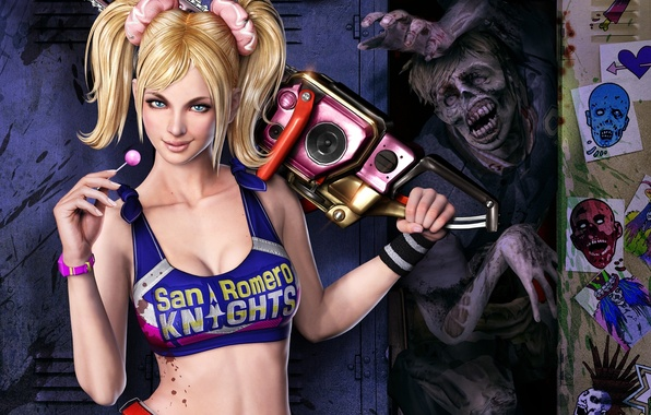 Picture girl, blood, zombies, drawings, Lollipop, chainsaw, locker, Lollipop Chainsaw