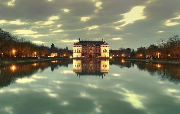 Picture lake, Park, reflection, castle, Dresden, lights, twilight