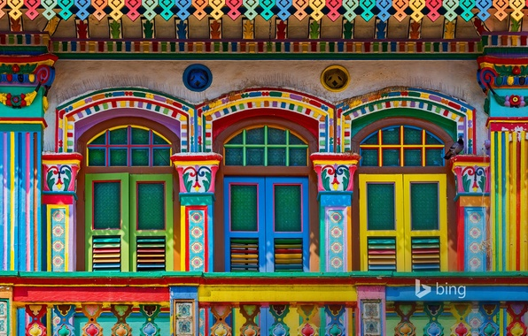 Picture paint, the building, window, Singapore, shutters, facade, Little India