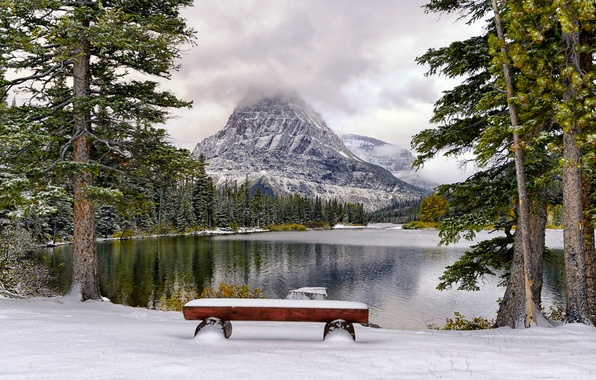 Picture winter, snow, trees, mountains, lake, Park, bench