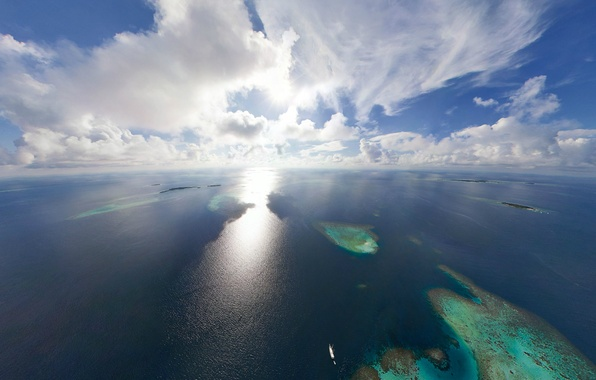 Picture Islands, clouds, the ocean, The sun, horizon, The Maldives