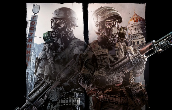 Picture the sky, weapons, soldiers, cartridges, equipment, Metro 2033, fighters, masks, the hotel, hats, Church, Metro: …