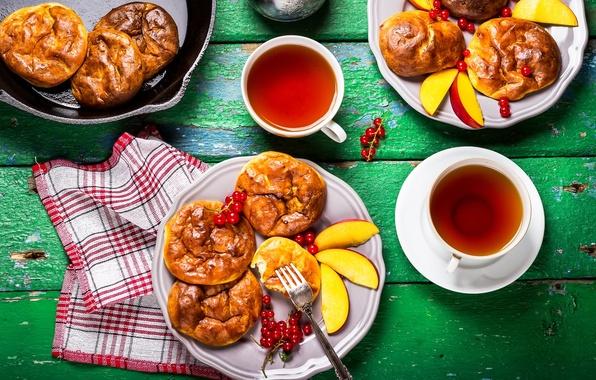 Picture tea, peaches, dessert, currants, cakes, fried