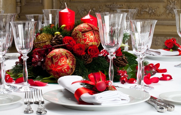 Picture decoration, flowers, table, roses, candles, New Year, Christmas, holidays, Christmas, flowers, holidays, New Year, roses, …