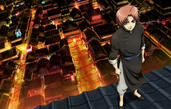 Photo Wallpaper Look Anime Kamui Yato Roof The City Gintama